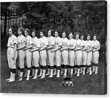 Women's Baseball Team Canvas Print by Underwood Archives
