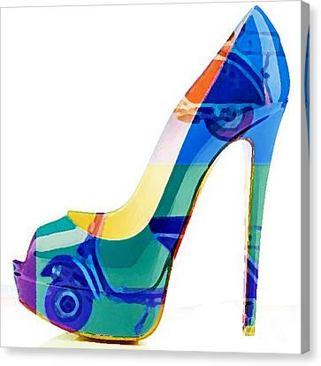 Womens Shoe Painting Vespa Scooter Canvas Print by Marvin Blaine