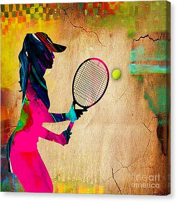 Womens Tennis Painting Canvas Print by Marvin Blaine