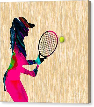 Womens Tennis Watercolor Canvas Print by Marvin Blaine