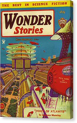 Wonder Stories  1934 1930s Usa Canvas Print by The Advertising Archives