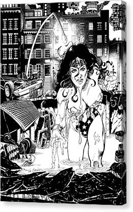 Wonder Woman Battle Canvas Print by Ken Branch