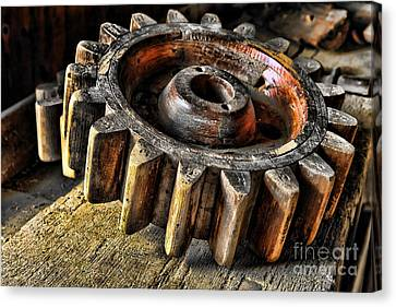Wood Gears Canvas Print by Olivier Le Queinec