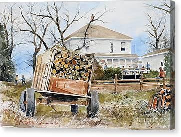 Wood Wagon Canvas Print by Monte Toon