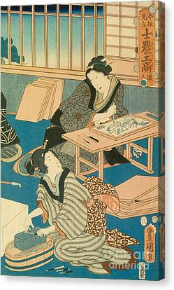 Woodblock Production Canvas Print by Japanese School