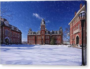 Woodburn Hall In Snow Strom Paintography Canvas Print by Dan Friend