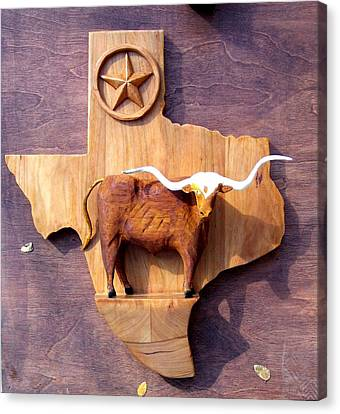 Woodcrafted Texas Longhorn Canvas Print by Michael Pasko