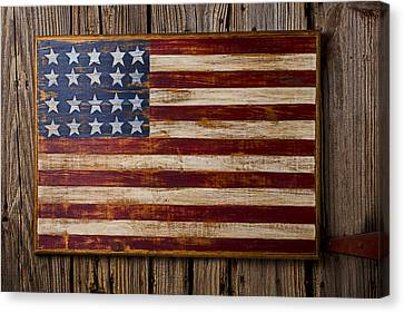 Wooden American Flag On Wood Wall Canvas Print by Garry Gay
