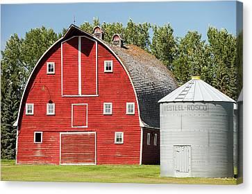 Wooden Barn On A Farm In Alberta Canvas Print by Ashley Cooper
