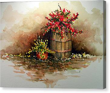 Wooden Barrel With Flowers Canvas Print by Sam Sidders