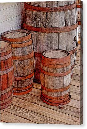 Wooden Barrels Canvas Print by Val Arie