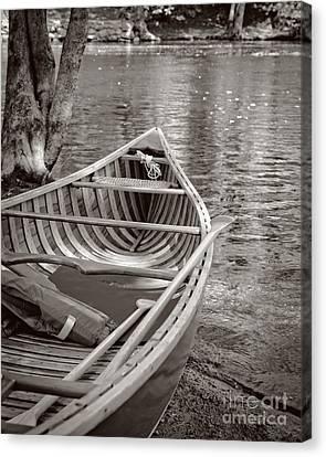 Wooden Canoe Canvas Print by Edward Fielding