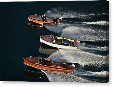 Wooden Runabouts On Lake Tahoe Canvas Print by Steven Lapkin