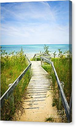 Wooden Walkway Over Dunes At Beach Canvas Print by Elena Elisseeva