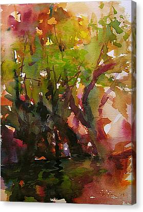 Woods And Creek Watercolor Canvas Print by Julianne Felton