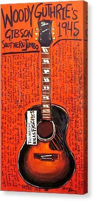 Woody Guthrie Gibson Sj Canvas Print by Karl Haglund