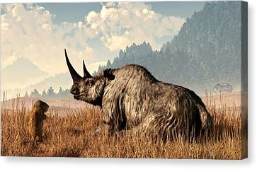 Woolly Rhino And A Marmot Canvas Print by Daniel Eskridge