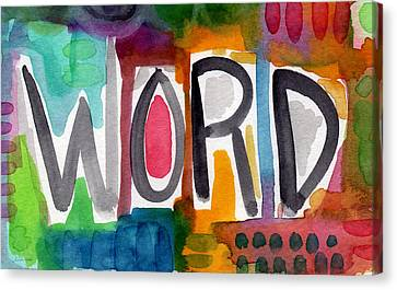 Word- Colorful Abstract Pop Art Canvas Print by Linda Woods