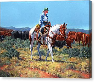 Working Cowgirl Canvas Print by Randy Follis