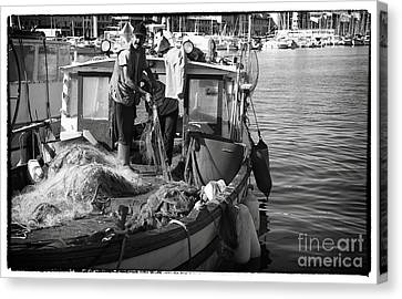 Working The Nets Canvas Print by John Rizzuto