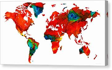World Map 12 - Colorful Red Map By Sharon Cummings Canvas Print by Sharon Cummings