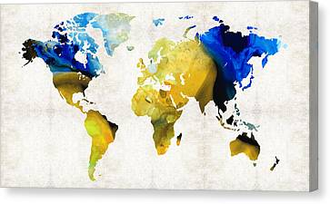 World Map 16 - Yellow And Blue Art By Sharon Cummings Canvas Print by Sharon Cummings