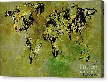 World Map 3 Canvas Print by Dragica  Micki Fortuna