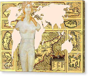 World Map Cyprus And Aphrodite Canvas Print by Augusta Stylianou