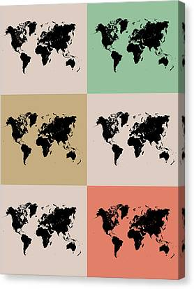 World Map Grid Poster 2 Canvas Print by Naxart Studio