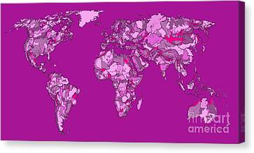 World Map In Cerise Canvas Print by Adendorff Design