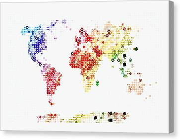World Map In Circles Canvas Print by Celestial Images