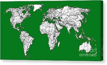 World Map In Green Canvas Print by Adendorff Design