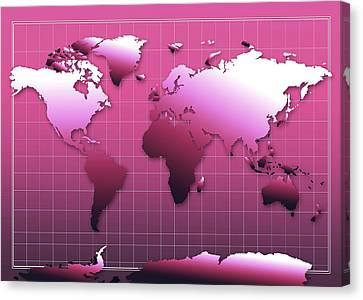 World Map In Pink Canvas Print by Bekim Art