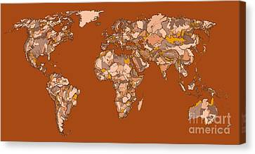 World Map In Sepia Canvas Print by Adendorff Design