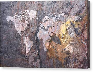 World Map On Stone Background Canvas Print by Michael Tompsett