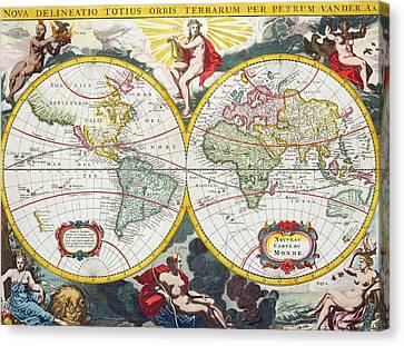 World Map Canvas Print by Pieter Van der Aa