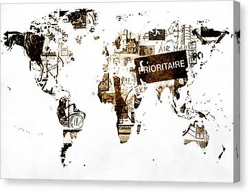 World Map Post Stamps Canvas Print by Eti Reid