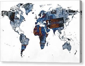 World Map Post Stamps Grunge Blueprint Canvas Print by Eti Reid