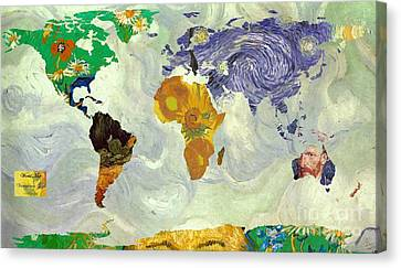 World Map Van Gogh 2 Canvas Print by John Clark