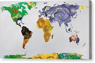 World Map Van Gogh 3 Canvas Print by John Clark