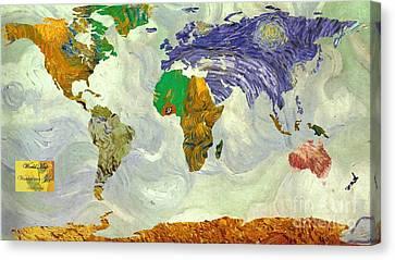 World Map Van Gogh1 Canvas Print by John Clark