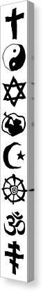 World Religion Symbol Calligraphy Canvas Print by Daniel Hagerman