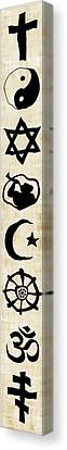 World Religion Symbol Calligraphy On Parchment Canvas Print by Daniel Hagerman