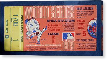 World Series Ticket Shea Stadium 1969 Canvas Print by Melinda Saminski