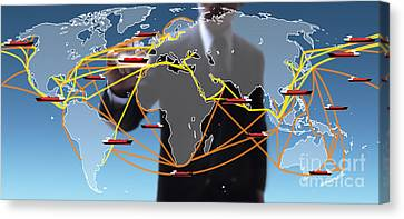 World Shipping Routes Map Canvas Print by Atiketta Sangasaeng