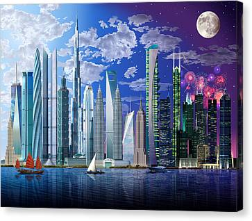 Worlds Tallest Buildings Canvas Print by Garry Walton