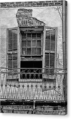 Worn Window - Bw Canvas Print by Christopher Holmes