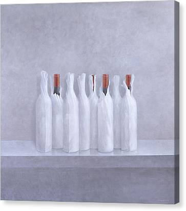 Wrapped Bottles On Grey 2005 Canvas Print by Lincoln Seligman