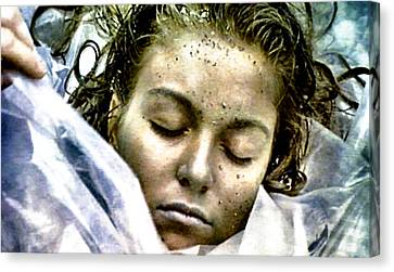 Wrapped In Plastic Canvas Print by Luis Ludzska