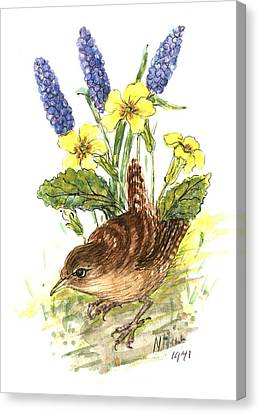 Wren In Primroses  Canvas Print by Nell Hill